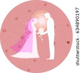 bridal scene illustration   Shutterstock . vector #634890197