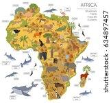 flat africa flora and fauna map ... | Shutterstock .eps vector #634897457