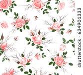 roses seamless pattern. a... | Shutterstock . vector #634901333