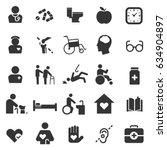 elderly care icon set flat... | Shutterstock .eps vector #634904897