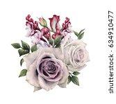 bouquet of roses  watercolor ... | Shutterstock . vector #634910477