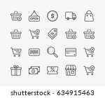 set of commerce line icons