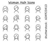 woman hair style icon set in... | Shutterstock .eps vector #634923413