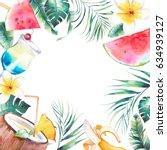watercolor summer frame. hand... | Shutterstock . vector #634939127