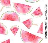 watercolor watermelon seamless... | Shutterstock . vector #634939313