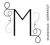 calligraphic letter m with... | Shutterstock .eps vector #634944527
