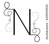 calligraphic letter n with... | Shutterstock .eps vector #634944533