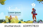 man backpacker enjoy view... | Shutterstock .eps vector #634957823
