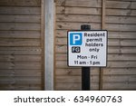 resident parking sign | Shutterstock . vector #634960763