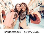 two young fashion women with... | Shutterstock . vector #634979603