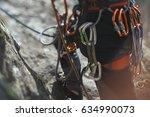 Small photo of Climbing gear and equipment closeup. Tilt-Shift effect.