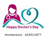 happy doctor's day   woman  man ... | Shutterstock .eps vector #635011877