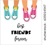 best friends forever  happy... | Shutterstock .eps vector #635014547