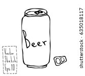 beer can and key doodle sketch. ... | Shutterstock .eps vector #635018117