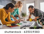 group of people checking... | Shutterstock . vector #635019383