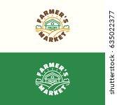 farmers market emblem set with...   Shutterstock .eps vector #635022377