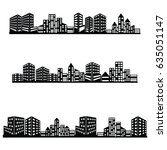vector black city icons set | Shutterstock .eps vector #635051147