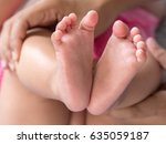 select focus feet baby blurred... | Shutterstock . vector #635059187