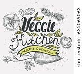 vegan food poster for... | Shutterstock .eps vector #635069063