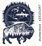 bison and mountains tattoo art. ... | Shutterstock .eps vector #635101397