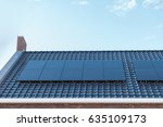 newly build houses with solar... | Shutterstock . vector #635109173
