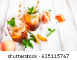 homemade iced lemonade with...   Shutterstock . vector #635115767