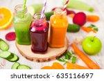 various freshly squeezed... | Shutterstock . vector #635116697