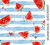 watermelon. watercolor seamless ... | Shutterstock . vector #635140547