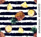 pineapples. watercolor seamless ...   Shutterstock . vector #635140553