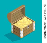 open treasure chest isolated... | Shutterstock .eps vector #635141873