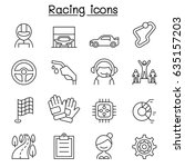 racing icon set in thin line... | Shutterstock .eps vector #635157203