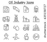 oil industry icon set in thin... | Shutterstock .eps vector #635158727