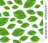 green realistic leaves seamless ... | Shutterstock . vector #635165297
