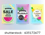 set of summer sale background... | Shutterstock .eps vector #635172677