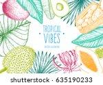 tropical palm leaves design...   Shutterstock .eps vector #635190233