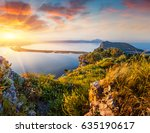 colorful spring view of the...   Shutterstock . vector #635190617