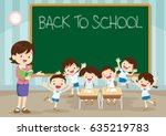 teacher and pupils happy at... | Shutterstock .eps vector #635219783