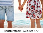 happy young couple in love... | Shutterstock . vector #635225777