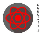 atom sign. vector. red icon... | Shutterstock .eps vector #635239553