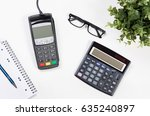 office desk table with payment... | Shutterstock . vector #635240897