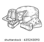 cheese vector hand drawn set... | Shutterstock .eps vector #635243093