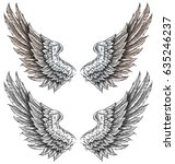 wings drawing in tattoo style | Shutterstock . vector #635246237