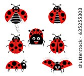 cartoon ladybug vector set...   Shutterstock .eps vector #635255303