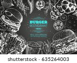 burgers and ingredients for... | Shutterstock .eps vector #635264003