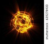 3d atom icon. luminous nuclear... | Shutterstock . vector #635278433
