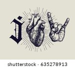 i love rock music   vintage... | Shutterstock .eps vector #635278913
