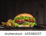 fresh burger and french fries... | Shutterstock . vector #635280257