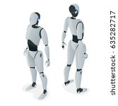 isometric autonomous robot.... | Shutterstock .eps vector #635282717