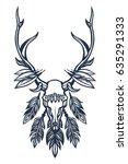 skull of the deer with antlers  ... | Shutterstock . vector #635291333