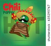 mexican chili green hot pepper... | Shutterstock .eps vector #635295767